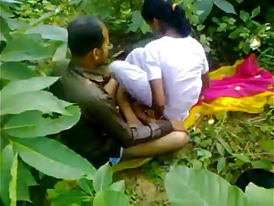 Indian school girl fucking teacher in outdoor sex